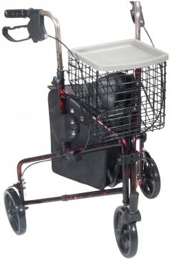 """Deluxe 3 Wheel Aluminum Rollator, 7.5"""" Casters"""